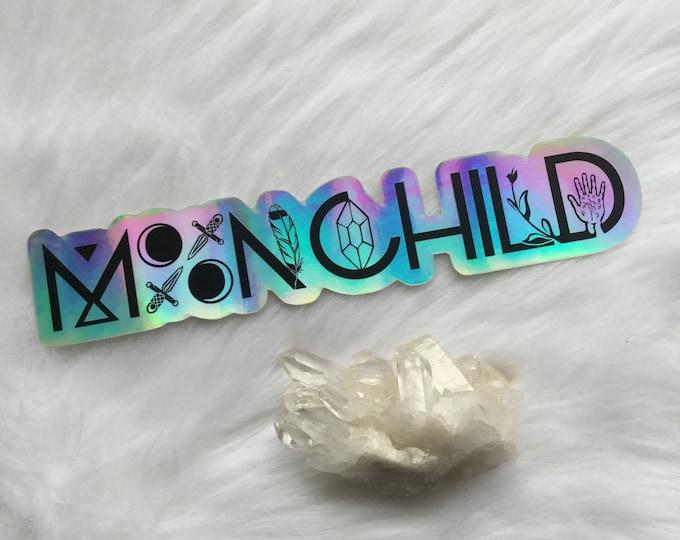 """XL 8"""" Holographic MoonChild Sticker, Laptop, Bumper sticker, vinyl weatherproof sticker"""