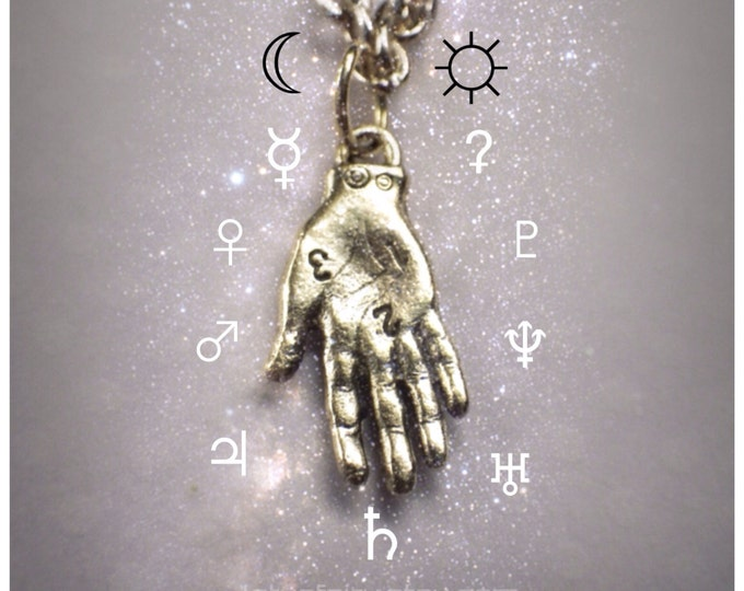 Palmistry Hand necklace, Oracle Palm Reader, Psychic Double sided detailed hand pendant