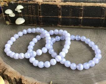 Blue Lace Agate, Chalcedony gemstone stretch bracelet, throat chakra