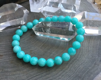 Amazonite stretch bracelet, 8mm grade A Peruvian Amazonite, Beautiful color, gemstone, boho, bohemian beaded bracelet