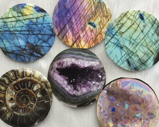 "Crystal Gemstone STICKER pack, Set of Six, 3"" round, dry/indoor use only. Labradorite, Ammonite, Angel Aura sphere, Amethyst"