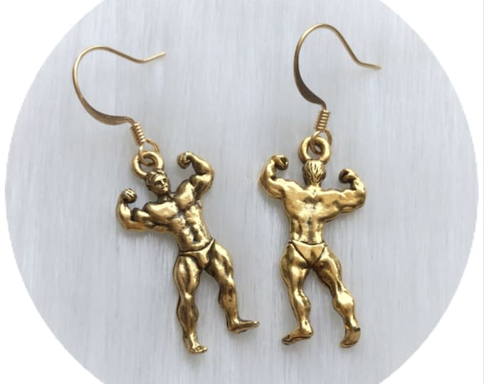 Male BodyBuilder Physique Earrings, Fitness Competition, sold per pair