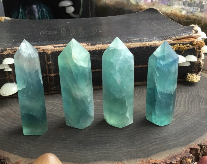 """Blue Green Fluorite Obelisk Tower, YOUR CHOICE 2.75"""" crystal point, ocean blue and green 1.5 -2 inches tall"""