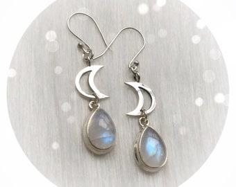 Moonstone Teardrop Moon earrings, Rainbow Moonstone gemstone, (leave qty as 1 to receive one pair)