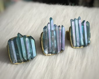 AQUA AURA Crystal Ring, Genuine Tanzine Aura Crystals, adjustable statement ring
