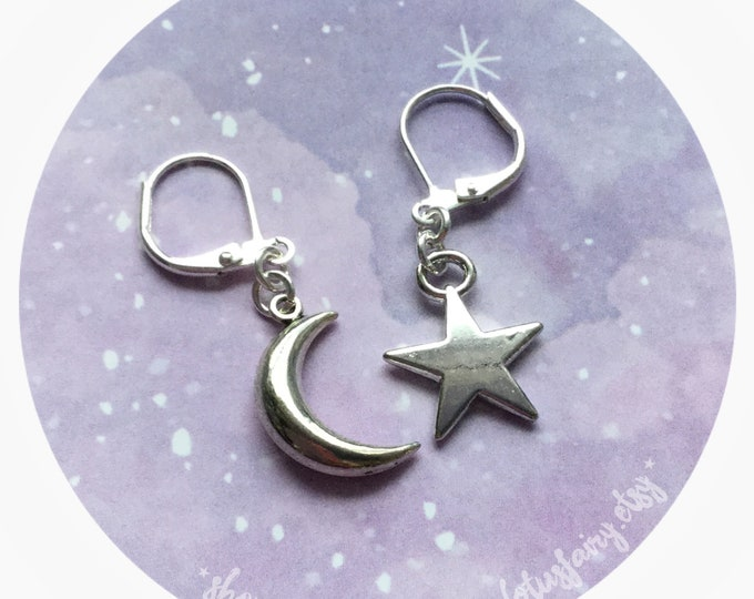 Small Moon and Star earrings, mismatched, your choice of ear hooks, sold per pair (leave qty as 1)