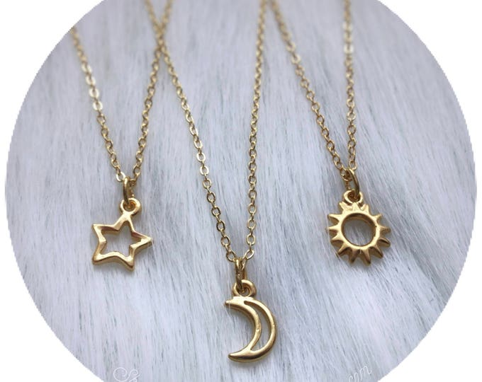 Dainty Gold tone Sun, Moon or Star necklace, friendship, best friends, set of one, two or three