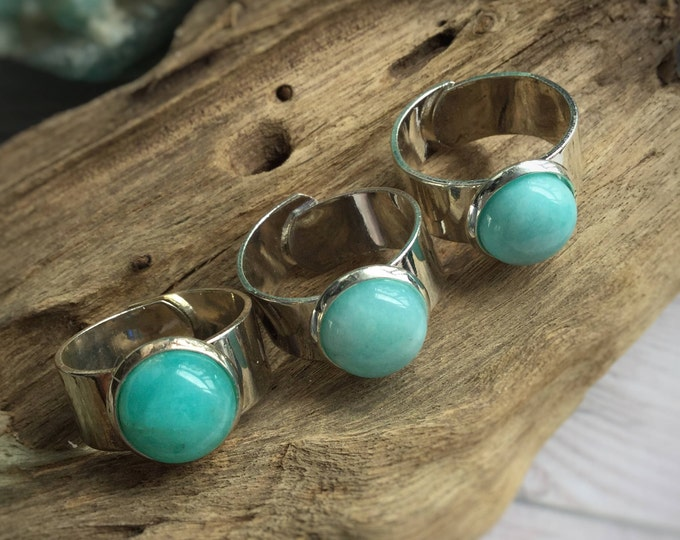 Amazonite Gemstone Ring, adjustable silver or bronze band, fits sizes 6 to 9