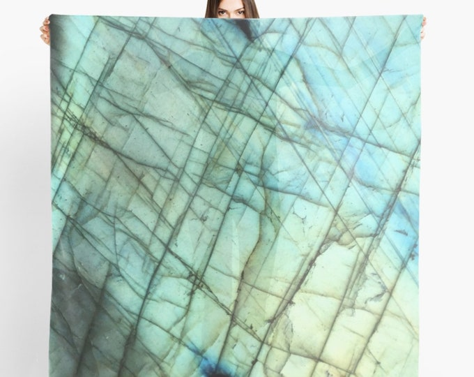 Turquoise Teal Scarf, Labradorite Print, Sheer Scarf, Gemstone Crystal print Scarf, Original design and photography by lotusfairy