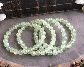 Prehnite 8mm Gemstone Beaded Bracelet, heart chakra, gemstone bracelet