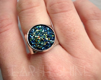 SALE Druzy ring, Titanium flame aura finish, faux gemstone, adjustable ring