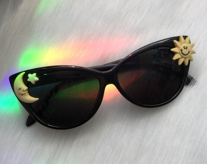 SALE Cat Eye Sunglasses with Sun and Moon