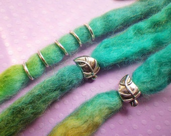 Leaf dread beads, silver hair bead set * FOR SMALL LOCS *