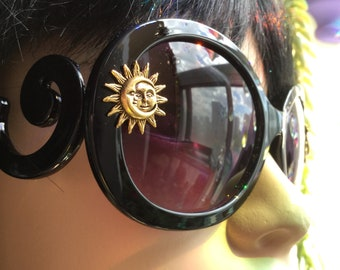 Gold Sun and Moon Sunglasses, large black sunglasses with zipper case and soft cloth pouch