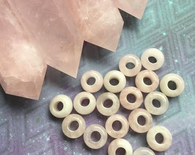 Rose Quartz dread beads, 6mm hole, dread bead set * FOR SMALL LOCS * hair decoration, braids, hair beads