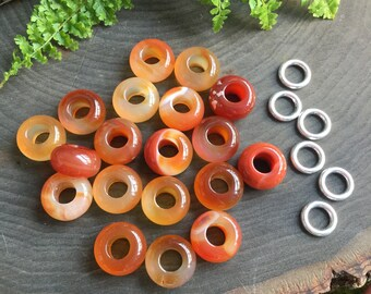 Carnelian Dread Beads dreadlock beads, 5-6mm hole, with silver beads