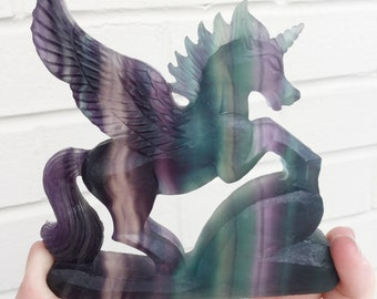 Crystal Unicorn Pegasus, Carved Fluorite Gemstone