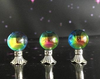 Miniature Crystal ball, Vitrail finish, for fairy garden or dollhouse