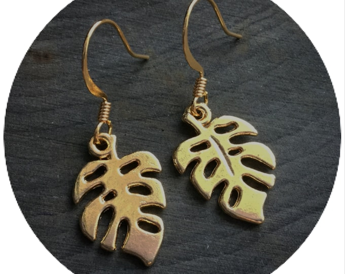 Tropical Leaf earrings, Monstera plant, your choice of silver or gold, (leave QTY as 1 to receive one pair)