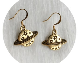 Saturn Planet Earrings, in silver or gold, on your choice of ear hooks