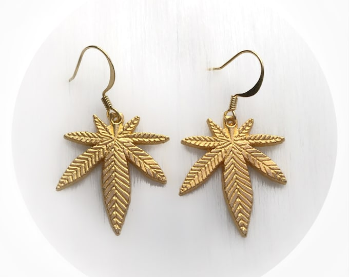 Gold Cannabis Hemp Leaf earrings, 420 Weed leaf, Your choice of Large or Small (Sold per pair, leave qty as 1)