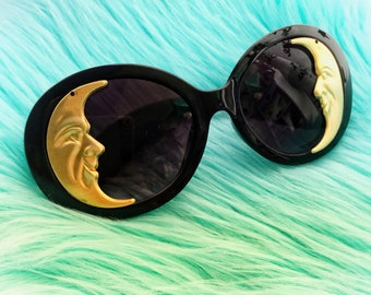 Gold Moon Sunglasses, embellished large oversized sunglasses, Vintage Crescent Man in the Moon