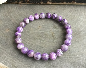 "Charoite Gemstone stretch beaded bracelet, 7.5"", crystal healing, reiki, purple stone,"
