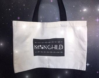 "SALE MoonChild Tote bag, book bag, double sided design, two tone cotton canvas 19"" x 15""  beach bag, large purse, sturdy and comfortable"