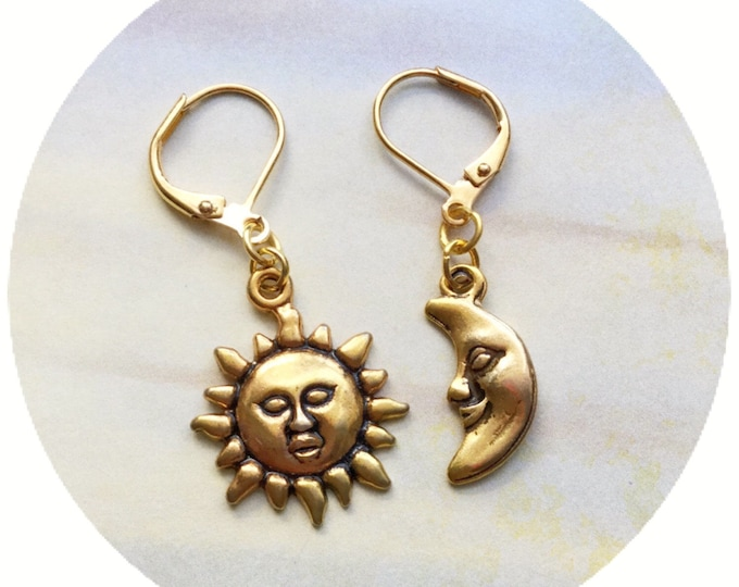 Sun and Moon face earrings in gold tone, sold per pair (leave qty as 1)