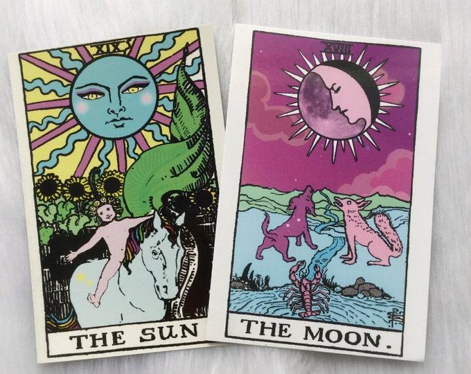 """Tarot The Sun and The Moon Art prints 4x6"""", Altar Decor"""