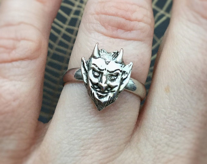 Satan Devil head ring, Halloween, Witchy  jewelry