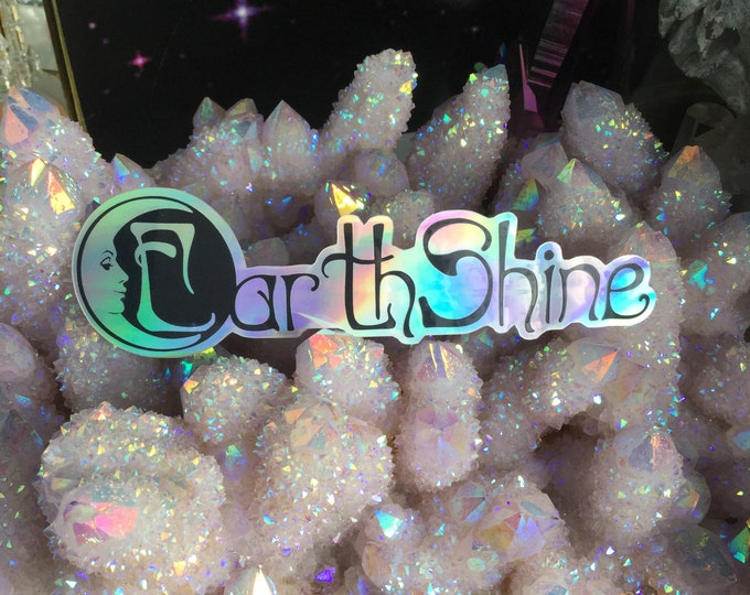 """Earthshine Moon face Holographic sticker 5"""""""