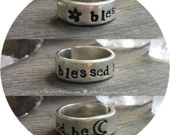 Blessed be, Wiccan Witch adjustable stamped pewter ring with Pentacle and Moon symbol