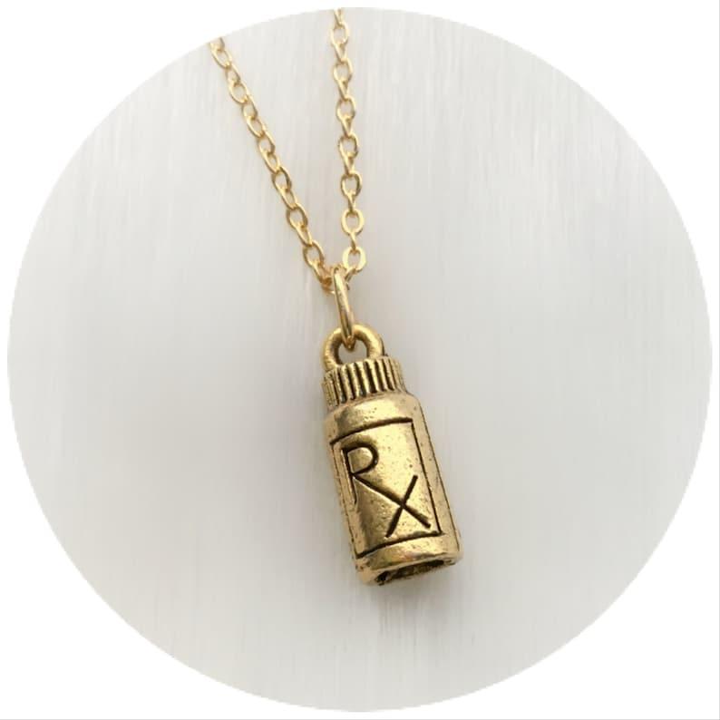 Pill Bottle small charm RX prescription necklace doctor image 0