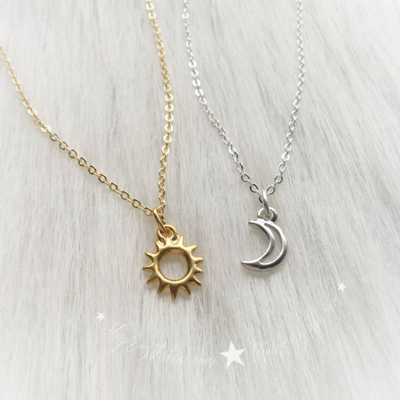 115d0a011bf9 Sun and Moon friendship necklaces Dainty Minimalist Jewelry
