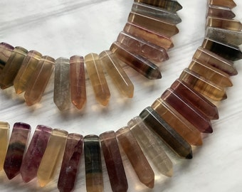 Rainbow Fluorite points, graduated fluorite, drilled crystal pendants for wire wrapping -DESTASH