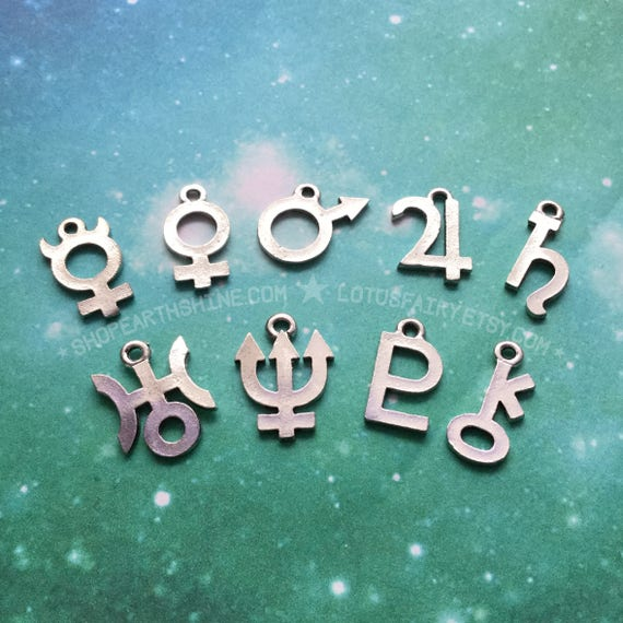 Planetary Symbol Glyph Necklace 18mm Jupiter Saturn Etsy