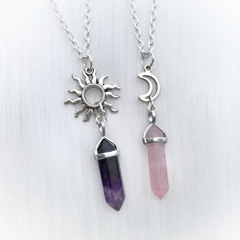 short or long chain Amethyst crystal point pendant choker necklace