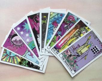 Tarot Card stickers, Set of 22, Glossy Paper, Major Arcana Rider Waite remake