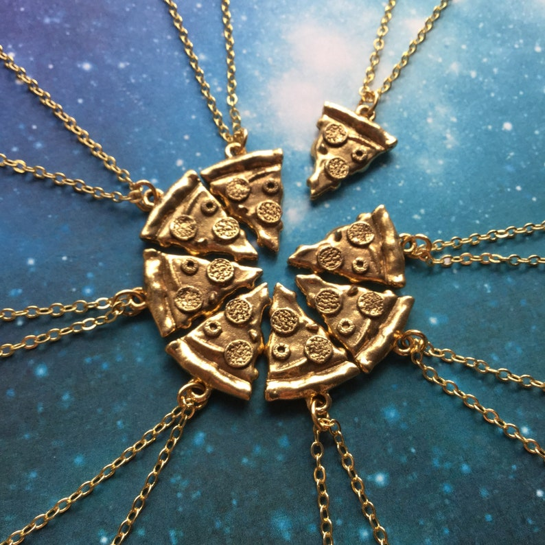 Gold Pizza Slice Friendship necklaces or keychains Group 8 slices