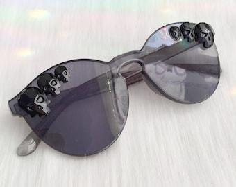 Black Skull Sunglasses, Crystal Rhinestone Components