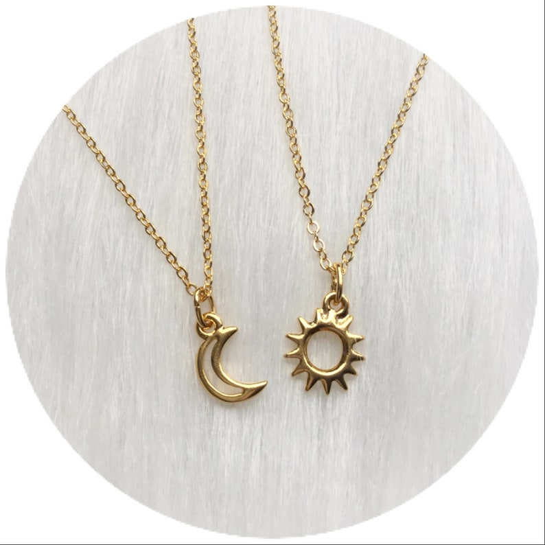 cff3368b5bcd Moon and Sun friendship necklaces Dainty Minimalist Jewelry