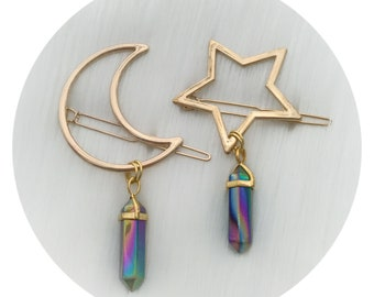 GOLD Moon or Star Crystal hair clip, The ORIGINAL crystal Moon hair clip, crescent hair barrette with gemstone dangle (original design)