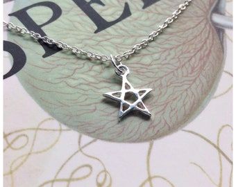 Dainty Pentacle Pentagram necklace, Witch, Wiccan Minimalist sterling silver necklace, small, tiny,