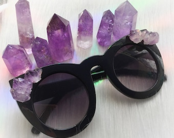 Amethyst Crystal Sunglasses, Cat Eye with Gemstone embellishments, with zipper case and cloth pouch