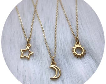 Dainty Gold Sun, Moon or Star necklaces, friendship, best friends, set of one, two or three single charm necklaces