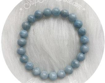 Aquamarine gemstone bracelet, stretch beaded bracelet, 8mm beads