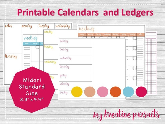 Instant Download Planner Pages Weekly and Monthly Layouts | Etsy