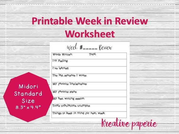 Items similar to writing week in review worksheet printable items similar to writing week in review worksheet printable travelers notebook pages midori inserts bullet journal standard size on etsy ibookread PDF