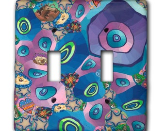 Switch Plate Cover- Purple Bubble Dance- Made to Order